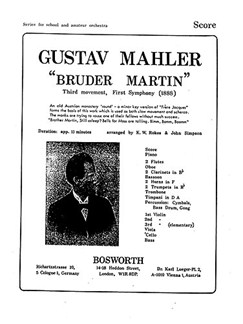 Gustav Mahler: 1st Symphony 3rd Movement 'Bruder Martin' (Score/Parts) Books | Orchestra