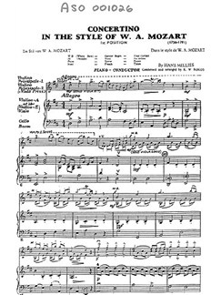 Hans Millies: Concertino In The Style Of Mozart (Score/Parts) Books | Orchestra