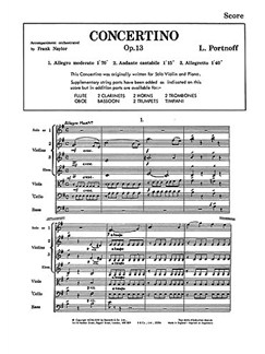 Leo Portnoff: Concertino In E Minor Op. 13 Books | Orchestra