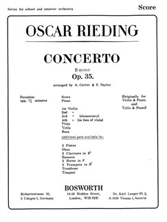 Oskar Rieding: Concerto In B Minor Op. 35 Libro | Orquesta