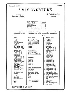 Tchaikovsky: 1812 Overture (Score And Parts) Libro | Orquesta