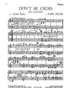 Carl Zeller: Don't Be Cross (Score And Parts) Arranged Frank Naylor Books | Orchestra