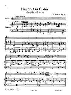 Oskar Rieding: Concerto In G Op.34 (Score/Parts) Books | Violin, String Orchestra