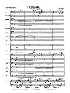 Massenet (Orch. Arnold): Meditation From Thais (Score And Parts) Libro | Orquesta