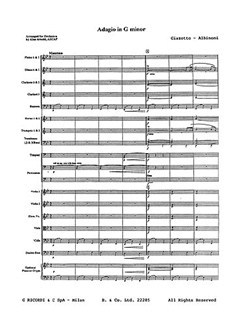 Tomaso Albinoni/Remo Giazotti: Adagio In G Minor (Score And Parts) Libro | Conjunto de Metal, Conjunto de Vientos, Conjunto de Cuerda