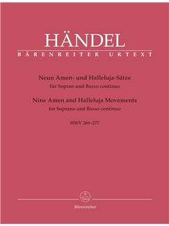 G.F. Handel: Nine Amen And Halleluja Movements for Soprano and Basso continuo HWV 269-277 Books | Soprano, Continuo