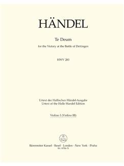 G. F. Handel: Dettinger Te Deum - HWV 283 (Violin I) Books | Choral, Orchestra