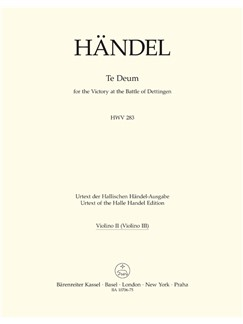 G. F. Handel: Dettinger Te Deum - HWV 283 (Violin II) Books | Choral, Orchestra