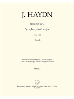 J. Haydn: Symphony No. 92 In G Oxford (Hob I:92) (Violin I) Books | Orchestra