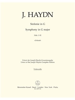 J. Haydn: Symphony No. 92 In G Oxford (Hob I:92) (Cello) Books | Orchestra