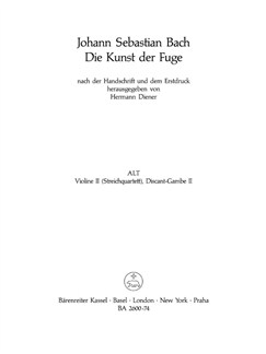 J.S. Bach: Art Of Fugue BWV 1080 - String Quartet (Violin II) Books | String Quartet