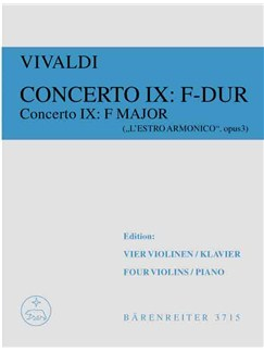 Antonio Vivaldi: Concerto 9 From 'L'Estro Armonico' F Major Op. 3/9 Books | Score