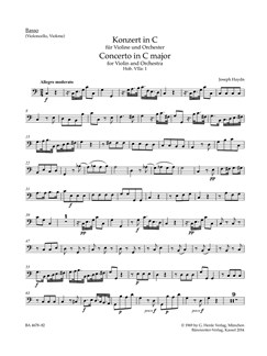 Joseph Haydn: Concerto For Violin In C (Hob.VIIa:1) Cello/Bass Part Books | Double Bass, Cello