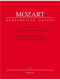 W.A. Mozart: Piano Quartet No.2 In E-Flat KV493 (Barenreiter Urtext Edition) Books | Violin, Viola, Cello, Piano