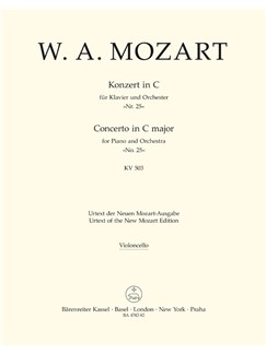 W.A. Mozart: Piano Concerto No.25 In C K.503 (Cello) Books | Orchestra, Piano