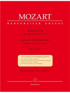 Wolfgang Amadeus Mozart: Concerto for Bassoon in B-flat (K.191) (K.186e) (Urtext). Books | Piano