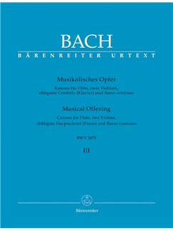 J.S. Bach: Musical Offering BWV 1079 - Canons For Flute, Two Violins, Obbligato Harpsichord And Basso Continuo (Score & Parts) Books | Chamber Group