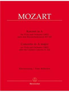 W.A. Mozart: Viola Concerto In A Major Based On The Clarinet Concerto K.622 (Viola & Piano) Books | Viola, Piano Accompaniment