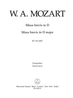 W. A. Mozart: Missa Brevis In D K.194 (Choral Score) Books | Choral
