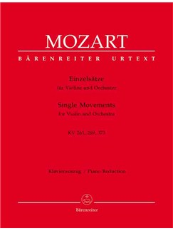 Wolfgang Amadeus Mozart: Single Movements for Violin and Orchestra (Urtext). (Adagio in E K.261; Rondo in B flat K.269; Rondo in C K.373). Books | Piano