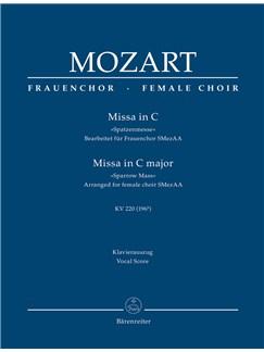 W. A. Mozart: Missa Brevis In C K.220 Sparrow-Mass (Arrangement For Female Choir SMezAA) Vocal Score Books | Piano Accompaniment