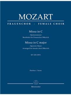 W. A. Mozart: Missa Brevis In C K.220 Sparrow-Mass (Arrangement For Female Choir SMezAA) Full Score Books | Orchestra