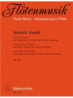 A. Vivaldi: Concerto For Flute In D RV783 (Score & Parts) Books | Flute, Piano Accompaniment