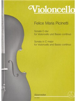 Felice Maria Picinetti: Sonata For Violoncello And Basso Continuo In C Books | Cello, Piano