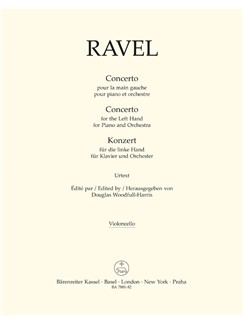 M. Ravel: Concerto For The Left Hand For Piano And Orchestra (Cello) Books | Cello, Orchestra