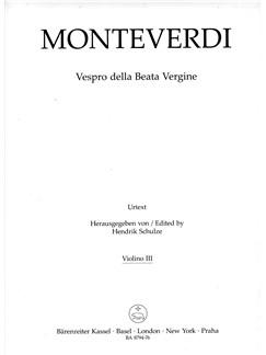 Claudio Monteverdi: Vespers 1610 - Vespro Della Beata Vergine (Violin III) Books | Choral