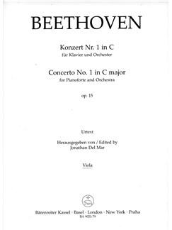 Ludwig Van Beethoven: Concerto No.1 In C Major Op.15 For Piano (Viola) Books | Orchestra