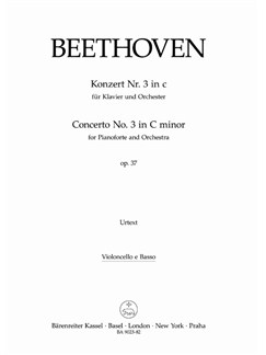 Ludwig Van Beethoven: Concerto No.3 In C Minor Op.37 For Piano Cello/Bass Books | Piano, Orchestra