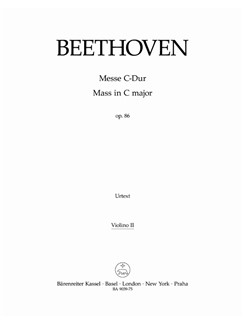 Ludwig Van Beethoven: Mass In C Op.86 (Violin II) Books | Choral, Orchestra