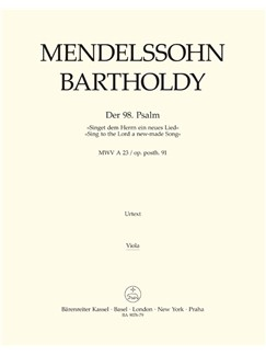 Felix Mendelssohn: Psalm 98 - Singet Dem Herrn / Sing To The Lord Op.Post.91 (Viola) Books | Choral, Orchestra