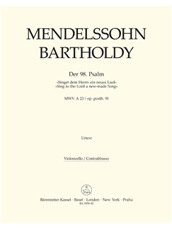 Felix Mendelssohn: Psalm 98 - Singet Dem Herrn / Sing To The Lord Op.Post.91 (Cello/Bass) Livre | Orchestre