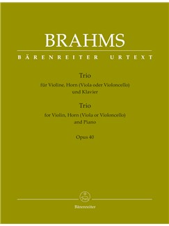 Johannes Brahms: Trio For Violin, Horn (Viola Or Violoncello) And Piano Op.40 Books | French Horn, Violin, Viola, Cello, Piano