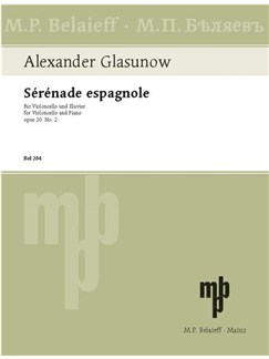 Alexander Glasunow: Sérénade Espagnole A-Dur Op. 20 Nr. 2 Books | Cello, Piano