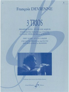 François Devienne: 3 Trios (Score/Parts) Books | Flute, Violin, Double Bass