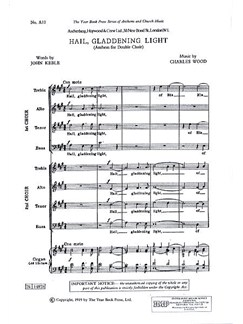 Charles Wood: Hail, Gladdening Light Books | SATB, Organ Accompaniment