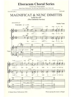 Stanley Vann: Magnificat And Nunc Dimittis In F (Chichester Service) Books | SATB, Organ Accompaniment