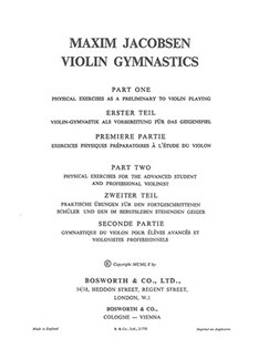 M. Jacobsen: Violin Gymnastics - Physical Exercises Books | Violin