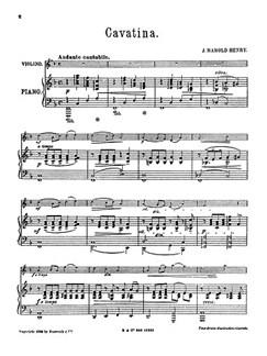 Henry, J H Cavatina Vln/Pf Buch   Violine, Klavierbegleitung