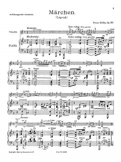 Drdla, F Marchen Op.80 Vln/Pf Books | Violin, Piano Accompaniment