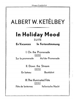 Ketelbey, In Holiday Mood Suite In Ferienstimmung Orch Pf Sc/Pts Buch | Orchester