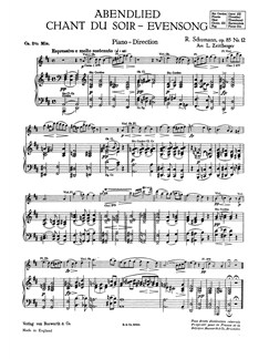Schumann, R Evensong Abendlied Op.85 (Zeitlberger) Orch Pf Sc/Pts Buch | Orchester