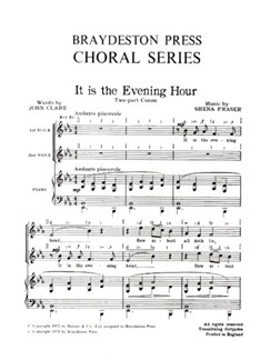 Shena Fraser: It Is The Evening Hour Books | 2-Part Choir, Piano Accompaniment