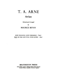T.A. Arne: Why So Pale And Wan, Fond Lover? Books | Bass Voice, Piano Accompaniment