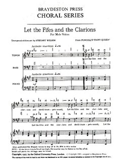Henry Purcell: Let The Fifes And The Clarions (arr. Wilson) - TB Books | TB, Piano Accompaniment