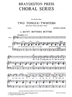 Anthony Foster: Two Tongue-Twisters Books | Voice, Piano Accompaniment