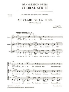 Au Clair De La Lune (SSAA) Libro | SSAA